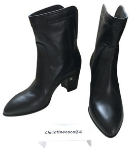 Chanel Size 37 Short Black Boots