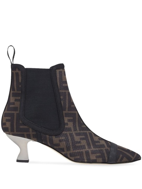 Item - Black Brown Colibrì Colibri Ff Motif Pointed Mesh and Leather Ankle Boots/Booties Size EU 37.5 (Approx. US 7.5) Regular (M, B)
