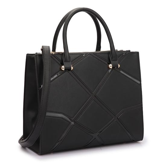 Preload https://img-static.tradesy.com/item/20307973/classic-with-front-crosshatch-patch-design-black-saffiano-faux-leather-satchel-0-0-540-540.jpg