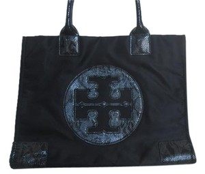 Tory Burch Leather Tote in Black Nylon