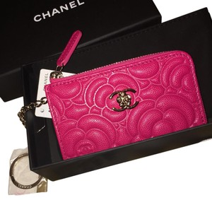 Chanel Chanel 2016 Classic CC Caviar Camellia Key Chain Card Case Wallet