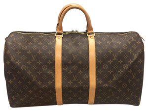 af14758f2e24 Louis Vuitton Leather 55 Keeperall Trael Duffle Condition Monogram Travel  Bag