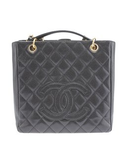 Chanel Gold-tone Quilted Tote in Black