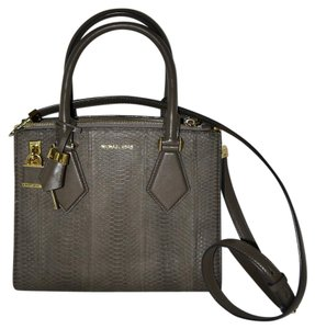 Michael Kors Sueded Snakeskin Satchel in Taupe