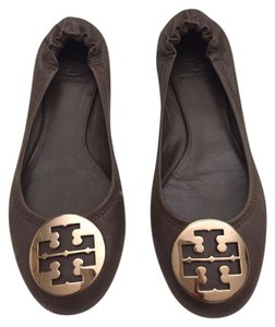 Tory Burch Large Logo Leather Brown Flats