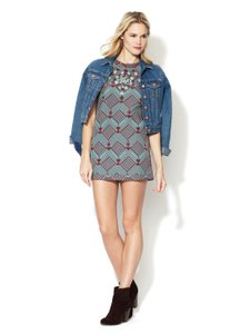 Free People short dress blue and rust Beaded Print Pattern Mod on Tradesy