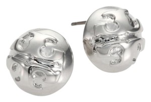 Tory Burch NEW!!! Tags Sterling Silver Logo Round Stud Dome Earrings