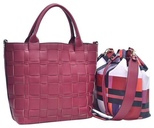 Preload https://img-static.tradesy.com/item/20308197/checkeredplaid-designed-with-bucket-inside-burgundy-faux-leather-tote-0-1-540-540.jpg
