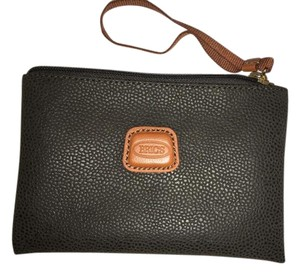 Bric's Leather Made In Italy Travel Accessory Moleskin Wristlet in Olive/Tobacco