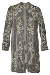 Johnny Was Biya Collection By Embroidered Long Knee Length Taupe Jacket