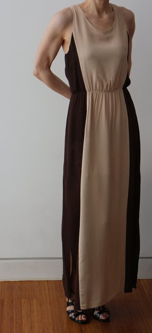 Beige/Brown Maxi Dress by W118 by Walter Baker Goddess Maxi Resort Ready Image 1