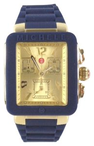 Michele Michele MWW06L000027 Navy Blue Silicon Gold tone Square Watch NEW!