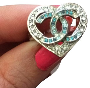 Chanel Valentine 16 k blue heart crystal silver tone ring