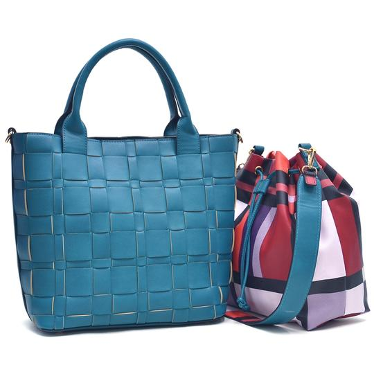 Preload https://img-static.tradesy.com/item/20308358/checkeredplaid-designed-with-bucket-inside-turquoise-faux-leather-tote-0-0-540-540.jpg