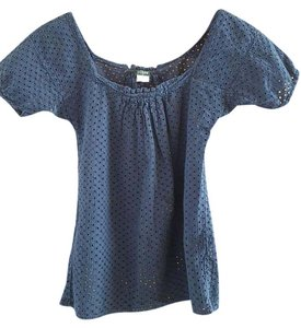 J.Crew Eyelet Cotton Top Navy
