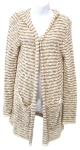 Anthropologie Moth Striped Cotton Blend Hooded Cardigan