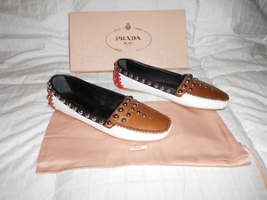 Prada Studded Colorblock Fabulous Design Made In Italy White/Brown/Red/Black Flats