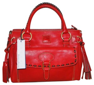 Dooney & Bourke Florentine Leather Tassels Lined Satchel in Red