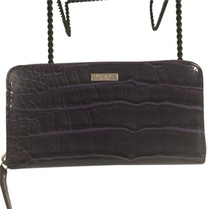 Kate Spade Croc Embossed Patent Leather Zip Around Wallet