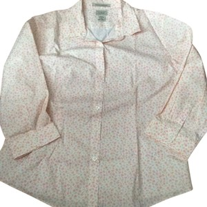 LL Bean Cotton Fitted Blouse, never worn Large Top pink and white