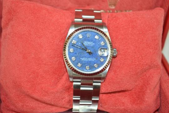 Rolex Authentic Rolex Datejust Diamonds Blue Dial Midsize Smooth Dial Oyster Stainless Watch