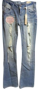 WallFlower Curvy Light Wash Distressed Boot Cut Jeans-Distressed