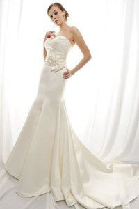 Eden Ivory Duchess Satin Gl007 Bridal Modern Wedding Dress Size 10 (M)