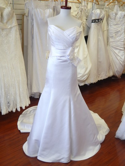 Eden Ivory Duchess Satin Gl007 Bridal Modern Wedding Dress Size 10 (M) Image 3