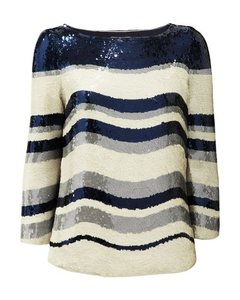 Tory Burch Top Multi-Color, Blue, Ivory & Gray