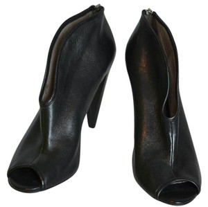 Vince Camuto Peep Toe Leather Zippers Black Boots