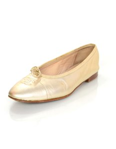 Chanel Cap-toe Ballet gold Flats