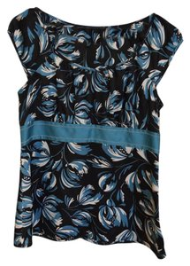 Ann Taylor LOFT Floral Top Green Black