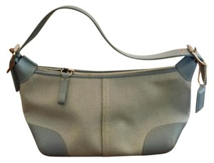 Coach Leather Canvas Silver Hardware Hobo Bag