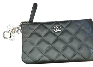 Chanel Lambskin Charm Black Clutch