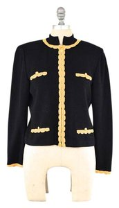 St. John Boxy Scalloped Trim Enamel Hardware Classic Black Jacket