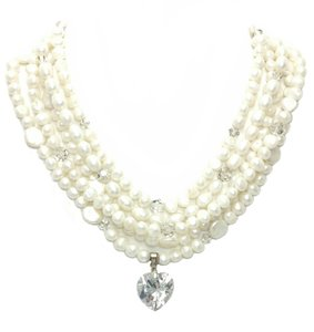 Kinley Multi Strand Pearl Heart Kinley Necklace With Backdrops