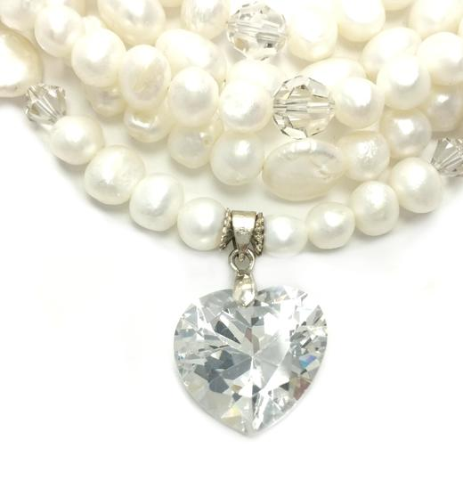 Kinley Multi Strand Pearl Heart Kinley Necklace With Backdrops Image 2