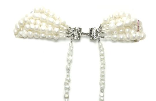 Kinley Multi Strand Pearl Heart Kinley Necklace With Backdrops Image 4