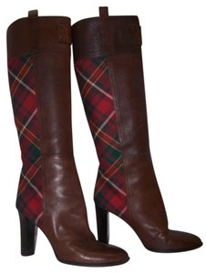 Burberry Riding Red/green Plaid Knee High Brown Boots