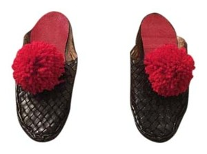 Other Pom Pom Babouche Bohemian Figue Black Flats
