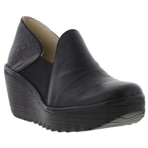 FLY London Chunky Leather Trendy Black Wedges