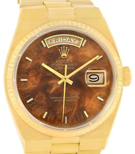 Rolex Rolex Oysterquartz President Day Date Yellow Gold Wood Dial 19018