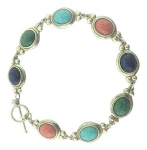 Other Antique Cabochon Colored Stones Bracelet- Sterling Silver