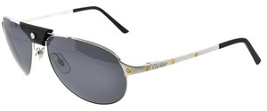 Cartier Cartier Santos Dumont 135 Aviator Platinum Finish Metal Sunglasses