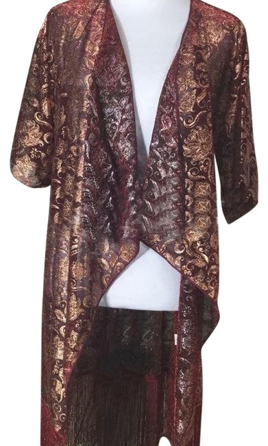 Item - Wine and Gold Small Monroe with Matching Fringe Cardigan Size 6 (S)