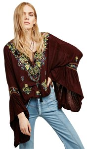 Free People Boho Embroidered Retro Vintage Look Top Mocha