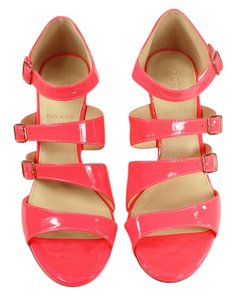 J.Crew Heel Leather Cushioned Neon Pink Wedges