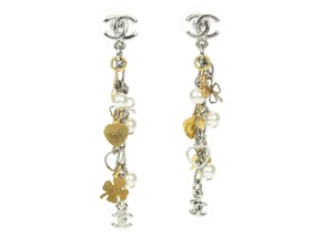 Chanel Chanel Silver Gold Faux Pearl Dangle Charm Earrings