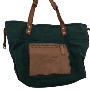 Liebeskind Leather Canvas Tote in Green, Brown