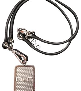 Dolce&Gabbana D&G dog tag leather necklace
